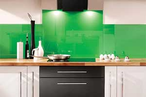 back-painted glass green backsplash