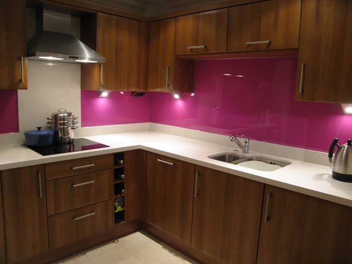 back-painted glass pink backsplash