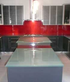 back-painted glass red backsplash