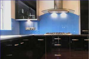 back-painted glass blue backsplash