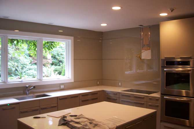 back-painted glass grey backsplash