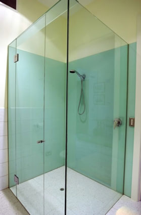 Shower Enclosure with Back-Painted Glass